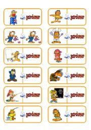 English Worksheet: Jobs domino with Garfield!!