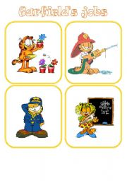 English Worksheet: 28 Memory Job Flashcards with Garfield 1/2 (picture+words)