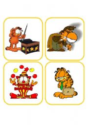 English Worksheet: 28 Memory Job Flashcards with Garfield 2/2 (picture+words)