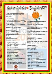 English Worksheet: Song: �Celebrate Basketball� (Eurobasket 2011)