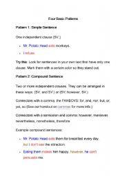 English Worksheet: Pattern of sentence