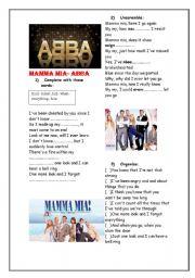English Worksheet: ABBA*** Mamma Mia***02 pages***Editable
