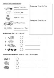 English Worksheet: Food and Toys Likes and Dislikes