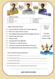 English Worksheets: THE HANGOVER movie session - FIRST VERSION