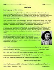 english worksheets comprehension passage on anne frank. Black Bedroom Furniture Sets. Home Design Ideas