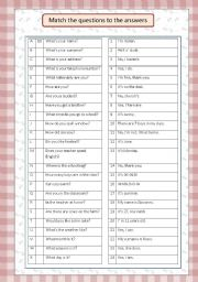 English Worksheets: match the questions to the answers