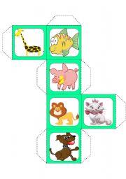 English Worksheets: Animals cube