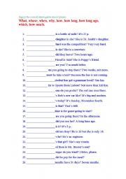 English Worksheets: Questions Words: Key included