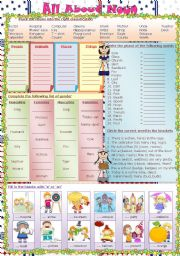English Worksheets: All About Nouns (Key Included)