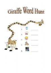 English Worksheets: Giraffe Word Hunt