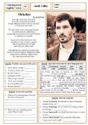 English Worksheets: Contemporary English Poetry 01 - Jacob Polley