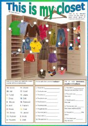 English Worksheet: This is my closet
