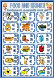 English Worksheet: Food and Drinks (Countable and Uncountable nouns test)
