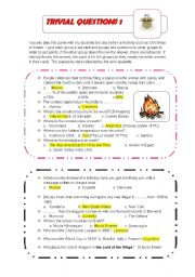 English Worksheet: Trivia Questions