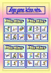 English Worksheets: Bingo game: Action verbs Set 1