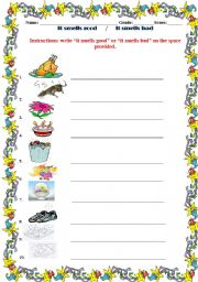 English Worksheet: It smells good or It smells bad - worksheet for kindergarten