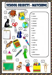English Worksheet: SCHOOL OBJECTS - MATCHING + KEY