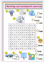 English Worksheet: weather: matching and wordsearch
