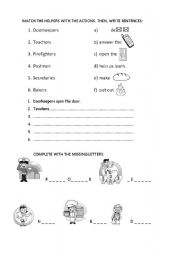 English Worksheets: Helpers and their actions