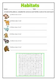 English worksheets: Habitats