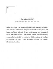 English Worksheets: Chinese Astrology