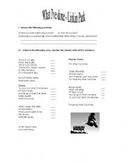 English Worksheet: A Song in The Present Perfect Tense
