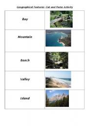 English Worksheet: Geographical features (part 2) cut and paste activity with definitions