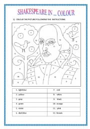 English Worksheet: SHAKESPEARE IN ... COLOUR