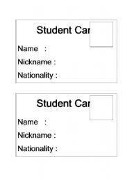 English Worksheets: student card