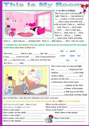 English Worksheet: My Room - 2 pages - editable