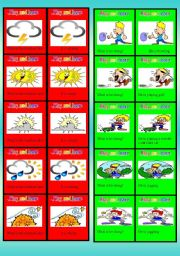 English Worksheets: Board game: Play and learn (Set 2). Question/answer cards