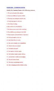 English Worksheets: COMMON NOUNS