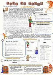 English Worksheets: The Lady, or the Tiger? Reading comprehension text (with keys)