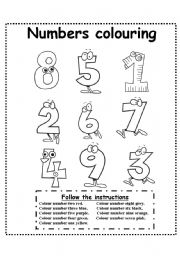English Worksheet Numbers Colouring