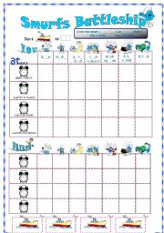 English Worksheets: Smurfs Battleship with daily routines and time