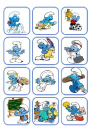 English Worksheets: Flashcard Jobs with the smurfs