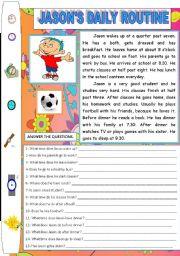 English Worksheet: JASON�S DAILY ROUTINE