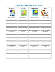 English Worksheet: Seasons, weather and clothes