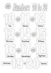 Numbers 10 to 20 - ESL worksheet by brenes_cyn