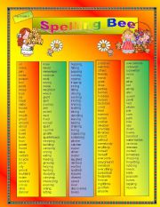 English Worksheet: Spelling Bee for Grade 3