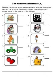 English Worksheets: The Same or Different Jigsaw Speaking Activity