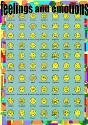 English Worksheet: Feelings and Emotions Pictionary (smileys)