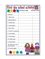activity for the first day of school an activity for the first day of ...