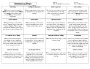 English Worksheet: Reading Log Bingo