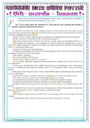 English Worksheet: Grammar with Harry Potter : lesson about WH- words