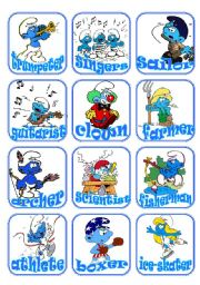 English Worksheets: Jobs Flashcards with the Smurfs. Set 2