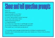 English Worksheets: �Show and tell� question prompt ideas