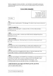 English Worksheets: Cover Letter Template