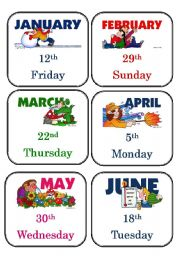 English Worksheets: What day is today?/What is today�s date? Activity Card Game 3 of 3