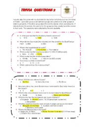 English Worksheets: trivia questions 2